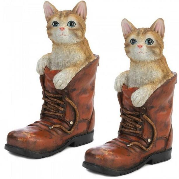 Indoor Outdoor Cute Tabby Cat In A Boot Statue Figurine Set of 2 New