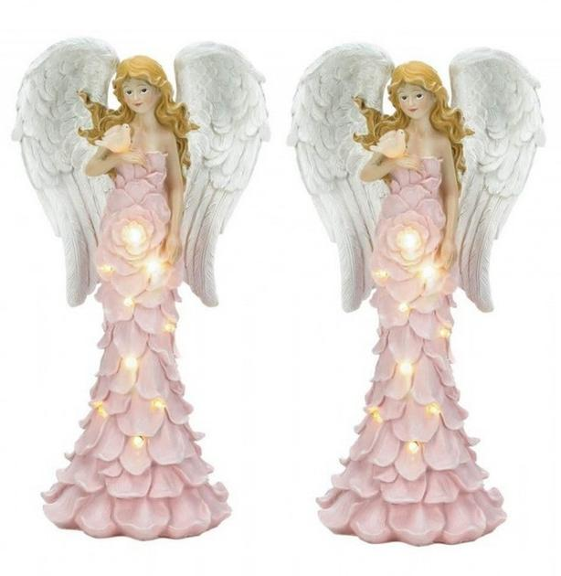 SOLAR Angel Figurine Statue with Light-Up Rose Flower Dress Set of 2 NEW Pink