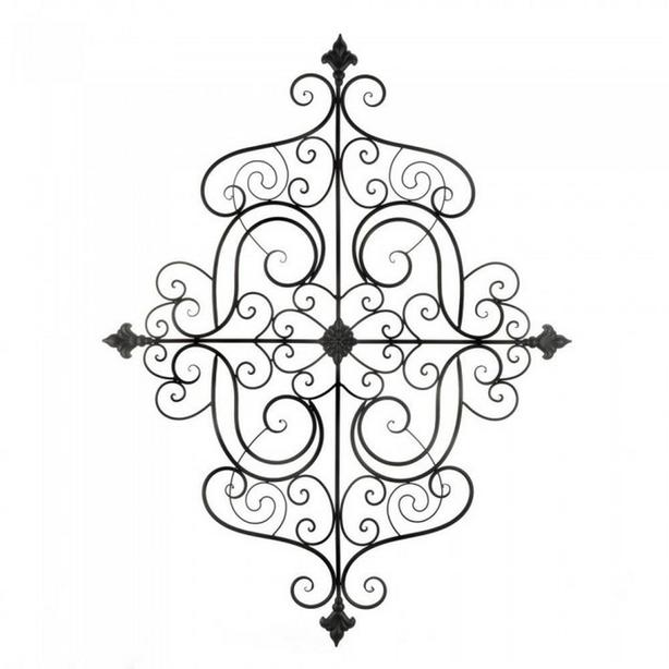Huge Metal Wall Plaque with Scrollwork Detailing & Fleur-De-Lis Accents