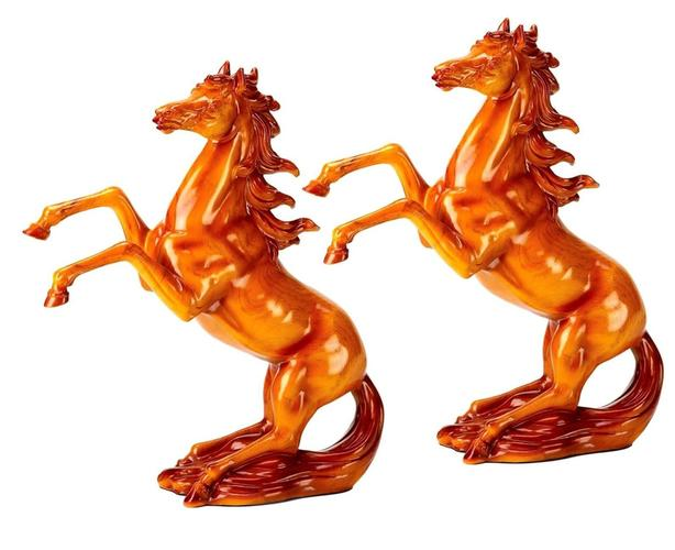 """Country Western Wood-Look Rearing Horse Figurine Statue 17"""" Tall Set of 2 New"""
