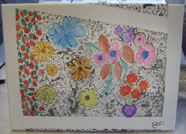 Flowers in Purple Vase. 8 x 10.  Acrylic.