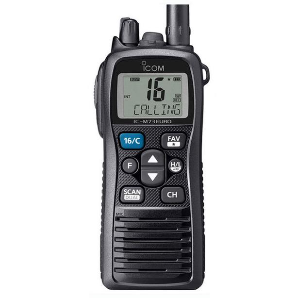 ICOM IC-M73 Plus with the HM-167 Microphone and a spare battery