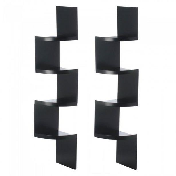 "4-Tier Black Wood Zig Zag Corner Wall Set of 2 Brand New 51"" Tall"
