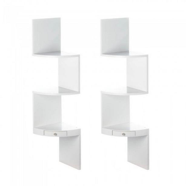 White Wood 3-Tier Zig Zag Corner Wall Shelf with Small Drawer Set of 2