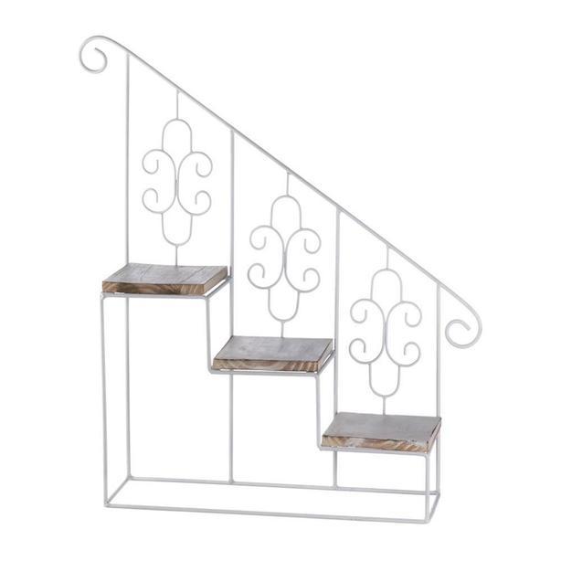 White Wood & Metal Staircase Step Wall Display Curio Shelf Set of 2