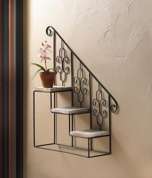 Wood & Metal Staircase Step Wall Display Curio Shelf Black & White 2 Lot Mixed