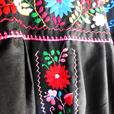 Black Mexican embroidered dress Handmade Mexico dresses boho hippy