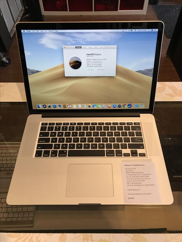 """Retina 15"""" MacBook Pro 2.3GHz i7 Quad 16BB RAM 256GB SSD w/ Warranty!"""