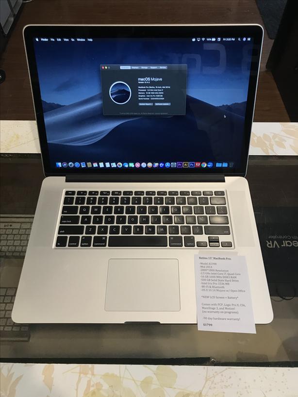 """Retina 15"""" MacBook Pro 2.5GHz i7 Quad 16BB RAM 500GB SSD w/ Warranty!"""