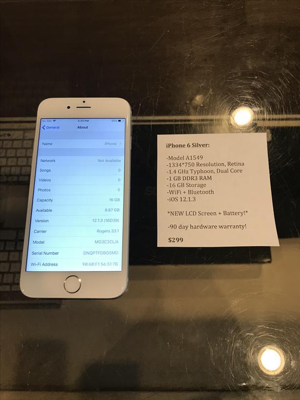 UNLOCKED iPhone 6 Silver 16 GB w/ Warranty!