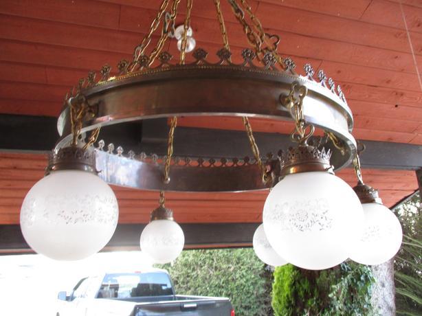 Brass and cast light fixture