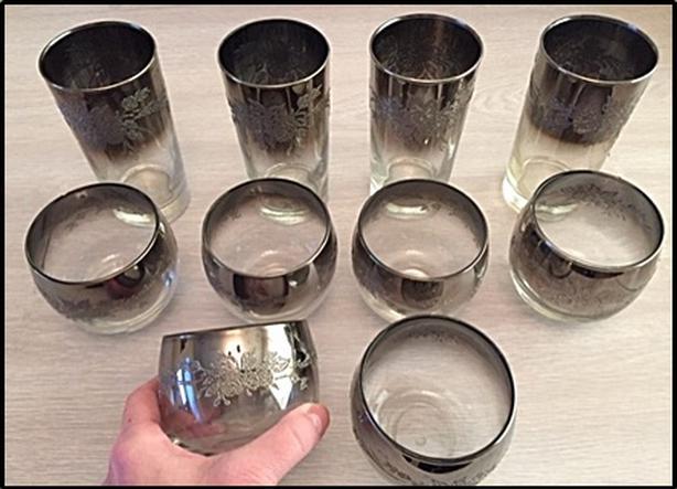 set of fancy silver designed glasses