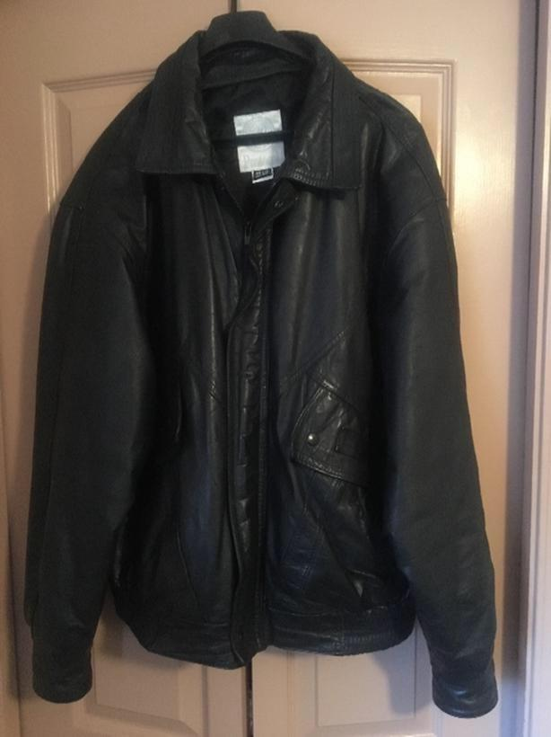 Mens Protocol Black Leather Jacket Bomber Style Size 42-44 R