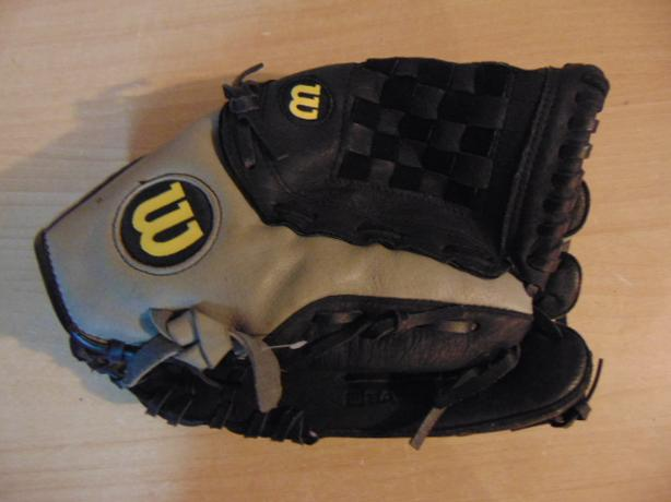 Baseball Glove Adult Size 12.5 inch Wilson Leather Black Grey Fits on LEFT hand
