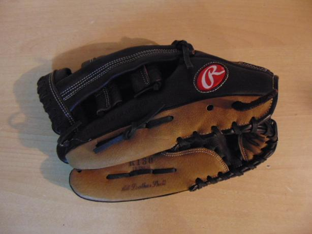 Baseball Glove Adult Size 13 inch Rawlings Leather Black and Tan Fits on RIGHT