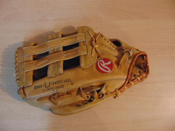 Baseball Glove Adult Size 13 inch Rawlings Leather Tan Fits on RIGHT hand