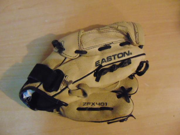 Baseball Glove Child Size 11 inch Youth Easton Leather Tan Black Fits on LEFT