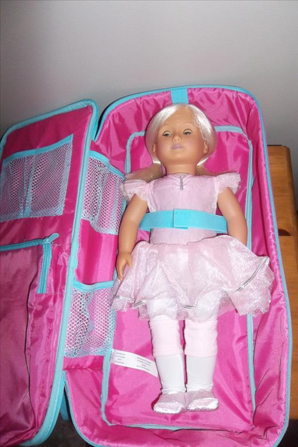 Ballerina doll with shoulder carry on and ice skating outfit