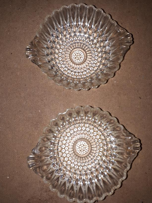 2 Vintage Anchor Hocking Clear Bubble Glass Berry, Nut With Handles