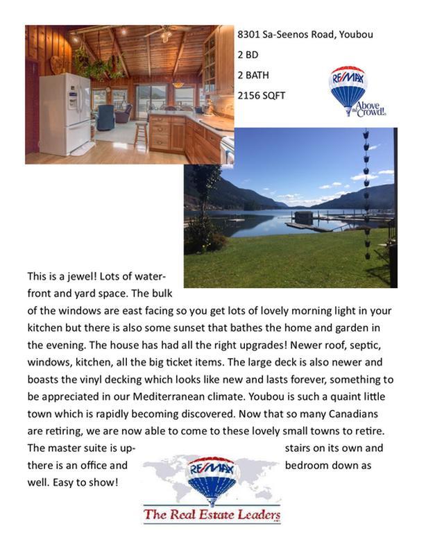 Waterfront Property! 8301 Sa-Seenos Road, Youbou