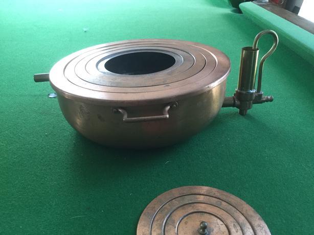 Antique copper flask warmer