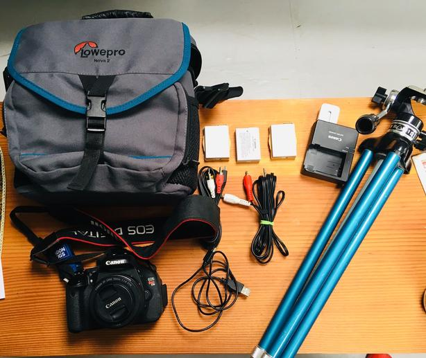 Canon Rebel t3i, 50 mm Lens, Camera Bag, Tripod