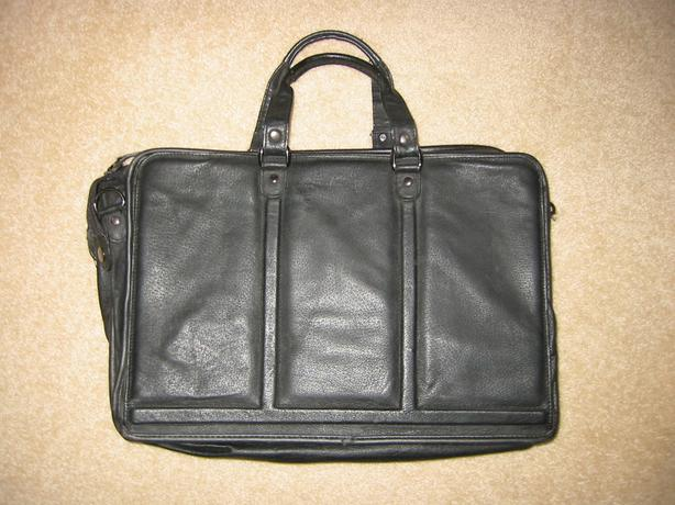 100% LEATHER BRIEFCASE with optional shoulder strap (was $300 retail)