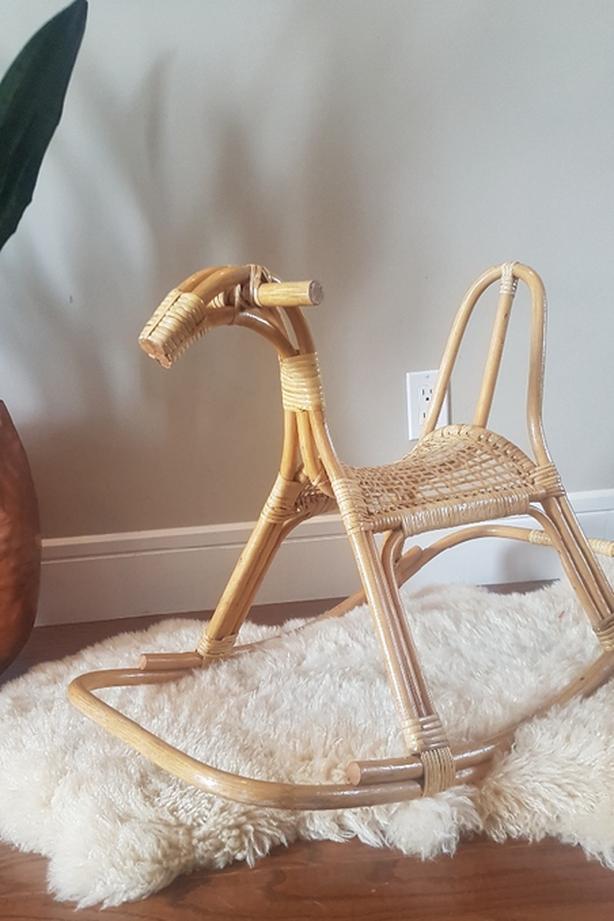 MCM rattan rocking horse