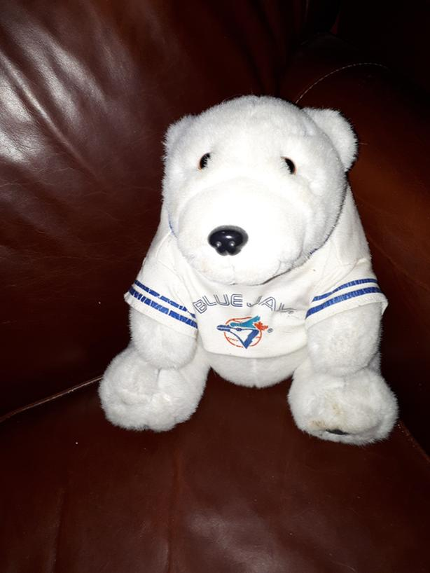 "VINTAGE COCA COLA Polar Bear TORONTO BLUE JAYS PLUSH 10""in 1990""s"