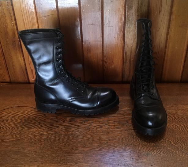 "Black Leather  11""  High Combat Style Steel Toe  Boots Size 7 1/2 D UK  41 EUR"