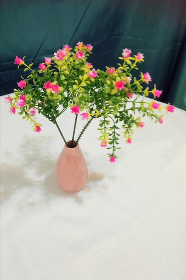 Small china vase with faux flowers for tables