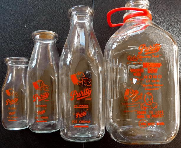 Set of 4 Purity Milk Bottles - From Regina, Sask. 1950s [Royal Oak]