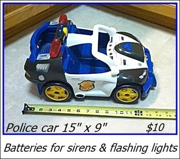 Plastic Police Car - Batteries for sirens and flashing lights