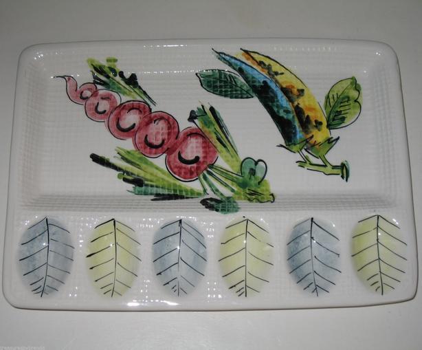 Vintage Italian Pottery Deviled Eggs Platter