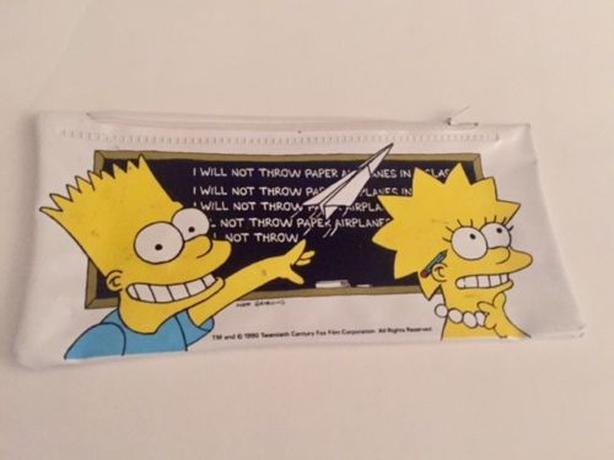 1990 The Simpsons Pencil Case with Bart and Lisa - collectible item