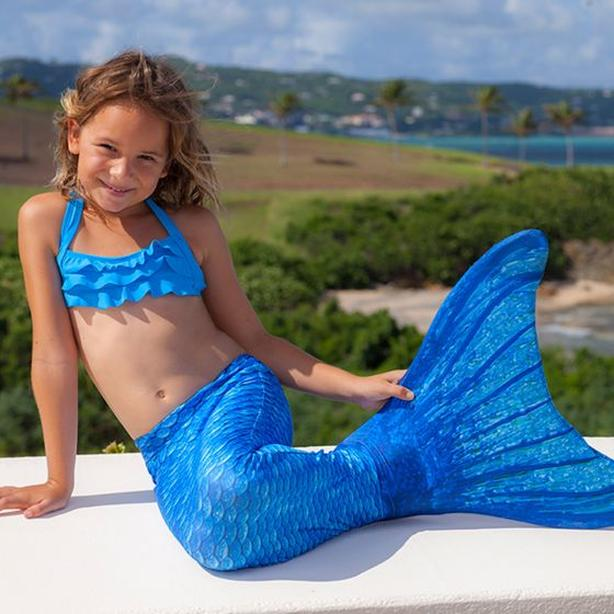 Mermaid tail swimsuit with mono-fin flipper