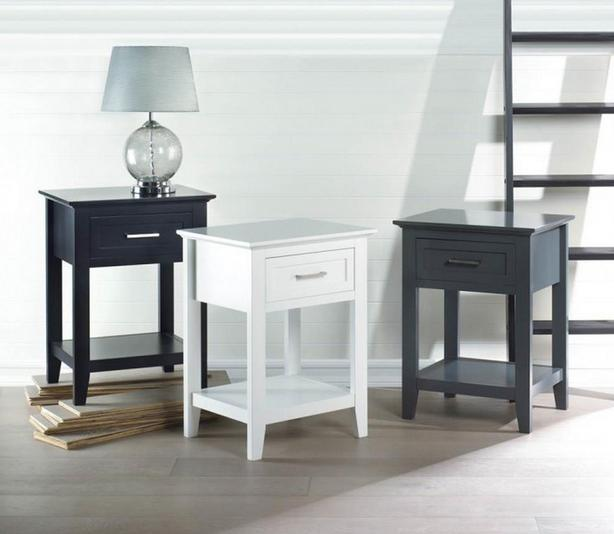 Accent Side End Table Nightstand with Drawer & Shelf Choose Black White Gray NEW