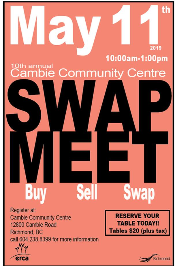 Get your table today! Cambie Spring Swap Meet