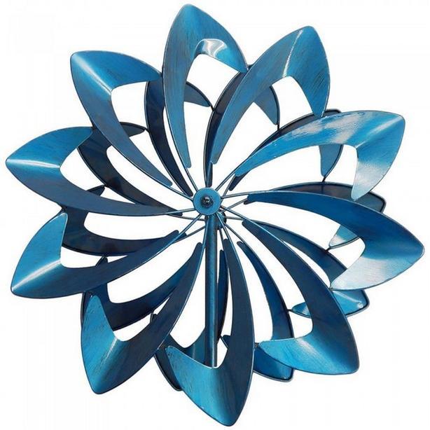 """Bright Blue Metal Windmill 84"""" Tall Brand New"""