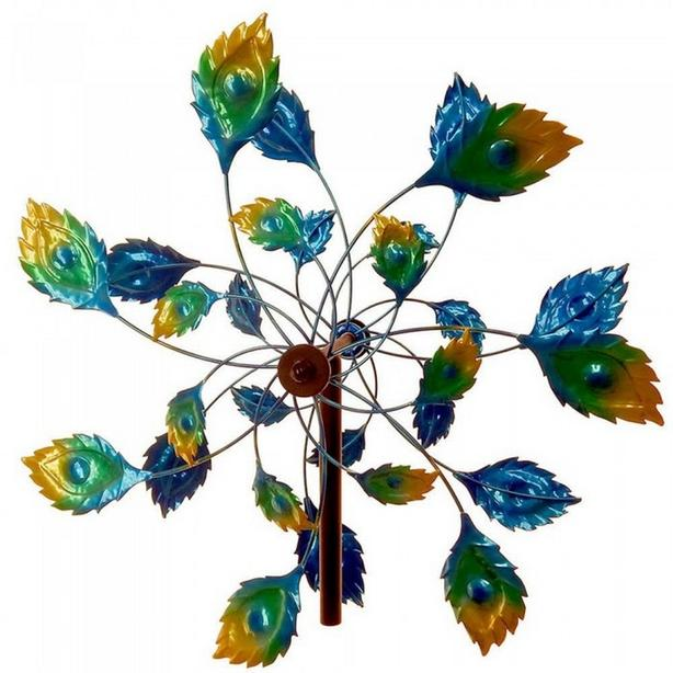 "Multi-Color Peacock Inspired Metal Windmill 75"" Tall Brand New"