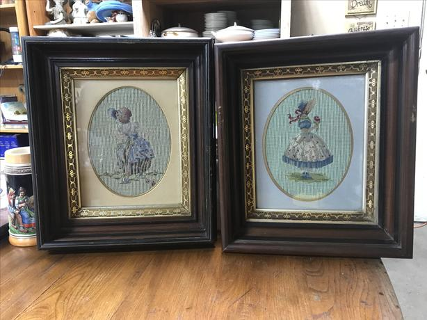 Set of 2 shadow box framed needle point pictures