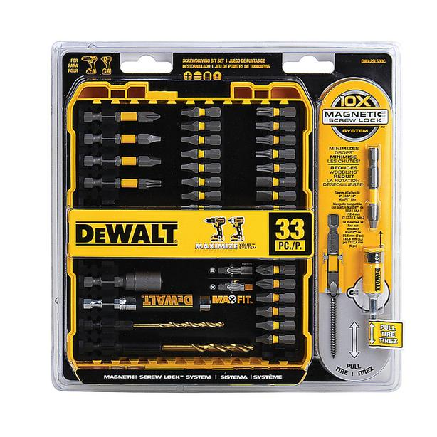 DEWALT 33-pc MAX FIT Screwdriver Bit Set w/ Magnetic Screw Sleeve & Case