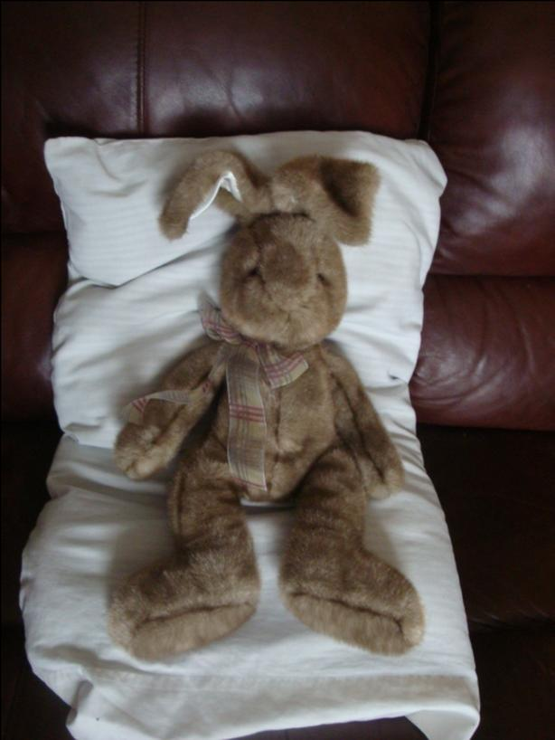 "STUFFED BUNNY 17""  GREAT TO CUDDLE"