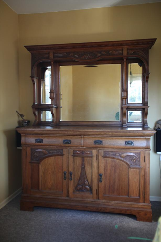 Beautiful Arts & crafts Buffet with large beveled mirror