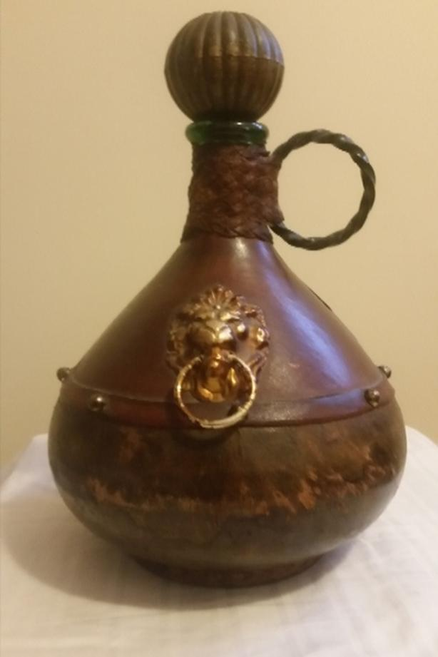Italian Leather Covered Glass Decanter