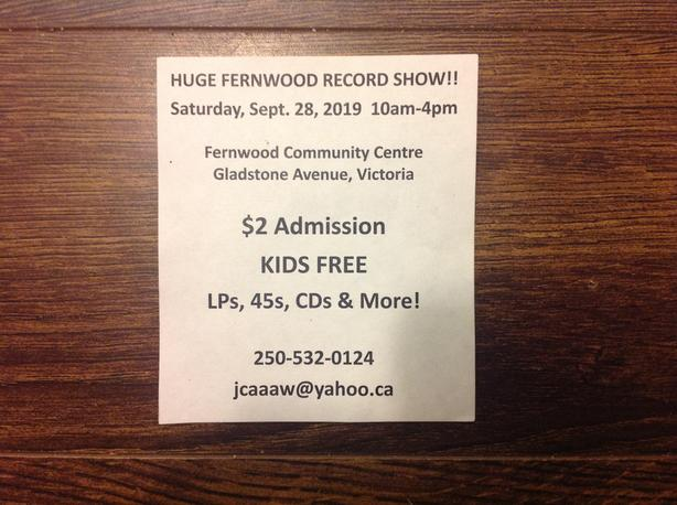 Vinyl record show September 28 10am - 4pm 2019 at the fernwood community centre