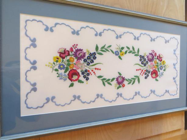 "Hand-Made Floral Embroidery Framed 37-1/2"" x 20-1/4"" [Royal Oak]"