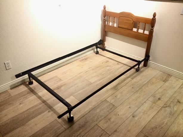 single headboard solid maple , steel  frame