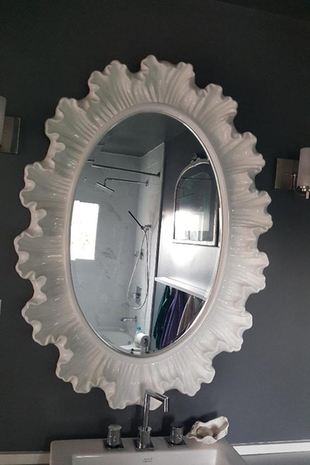 Large Oval Bevelled Mirror With Ruffled Frame Victoria City Victoria
