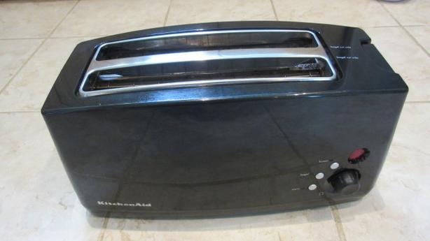 Black extra long wide 4 slice Kitchenaid electronic toaster